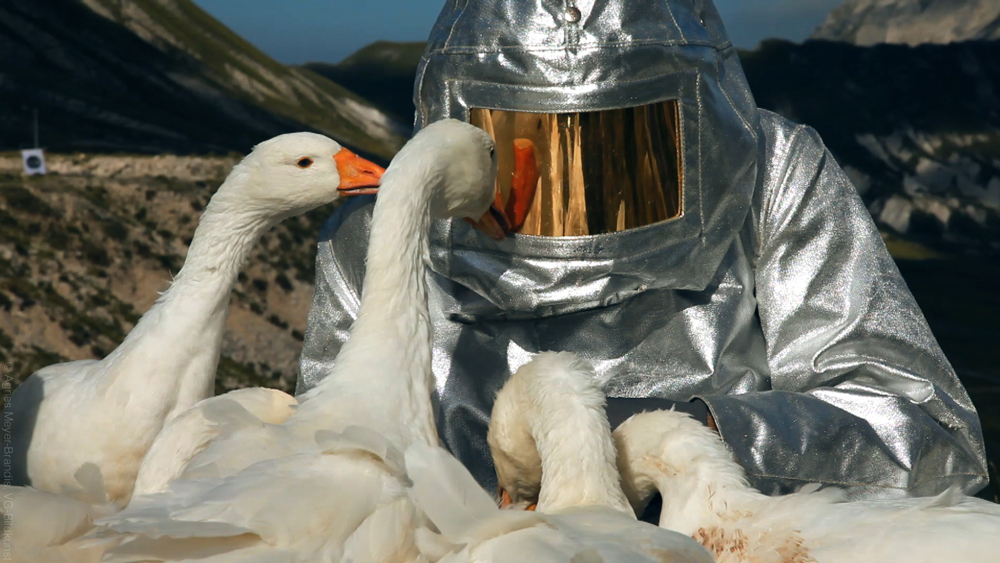 SPACE SUIT TESTING, Astronaut Training Method No. XIII, Moon Goose Colony, videostill, 2011 © Agnes Meyer-Brandis, VG-Bild Kunst 2018