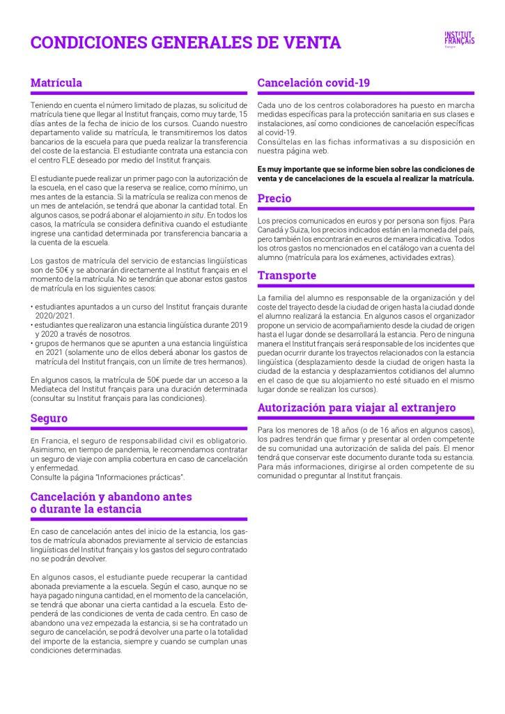 Condiciones generales de venta Institut français de España - Estancias 2021