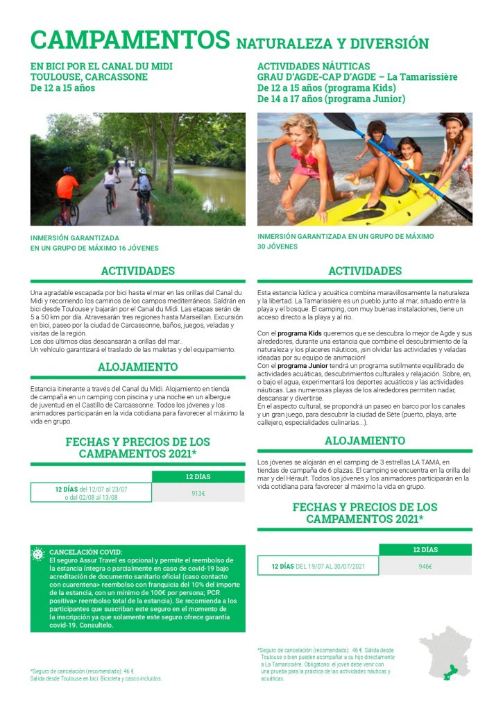 Campamento en Francia con franceses Naturaleza y diversión