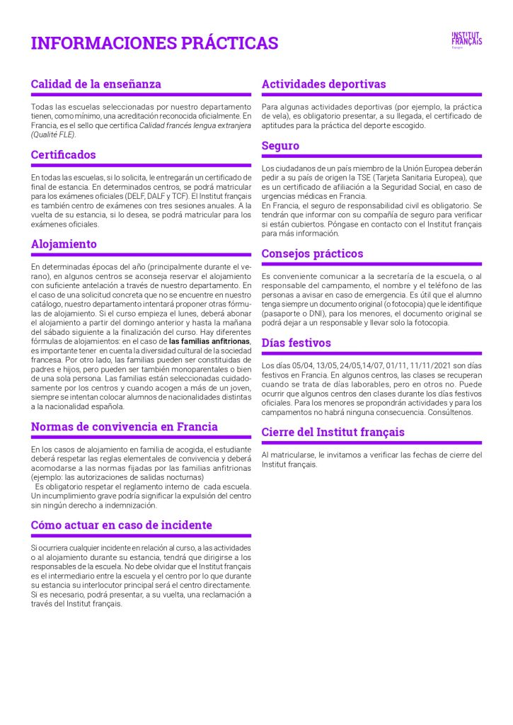 Informaciones prácticas Institut français de España - Estancias 2021